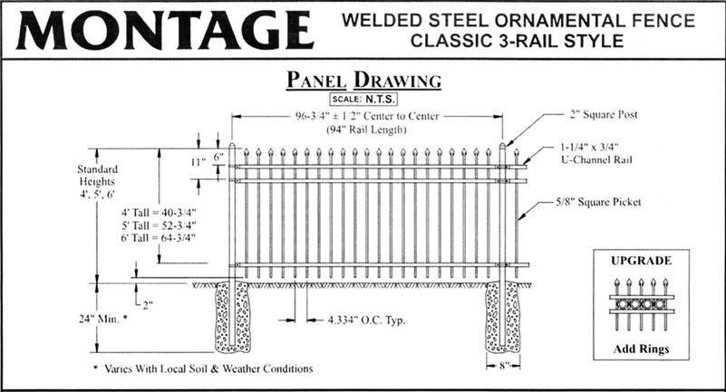 Ornamental fence panel drawing